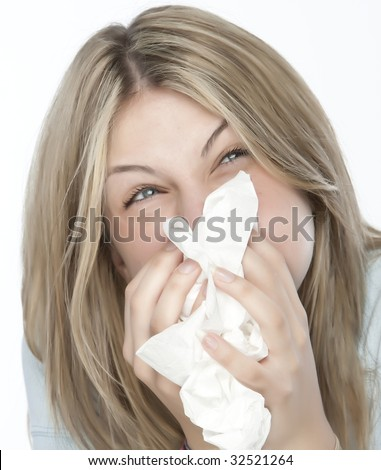 beautiful girl with allergies - stock photo