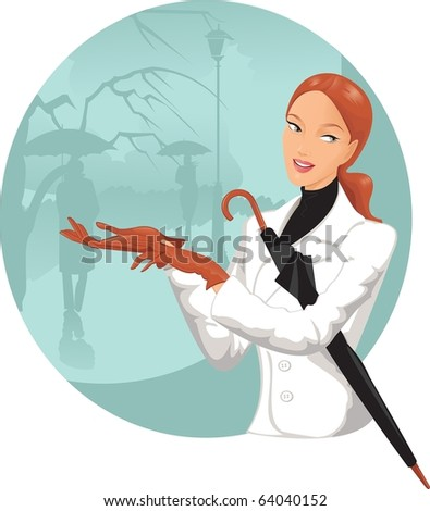 Beautiful girl with an umbrella against the backdrop of a rainy city - stock photo