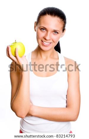 Beautiful girl with apple - isolated on white background - stock photo