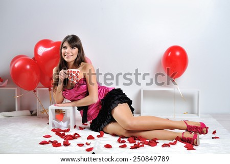 beautiful girl with balloons hearts. - stock photo