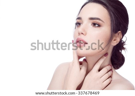 Beautiful girl with beautiful makeup, youth and skin care concept , photoset of attractive brunette girl on white background - stock photo