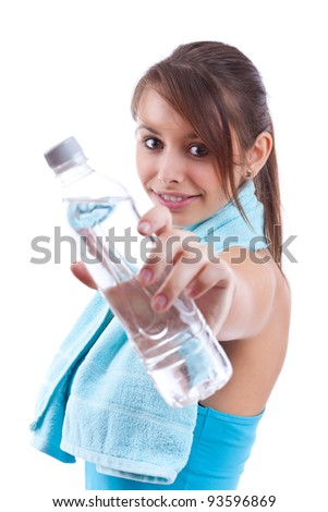 Beautiful girl with bottle of water over white