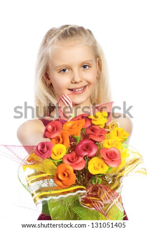 Beautiful girl with bouquet of edible flowers