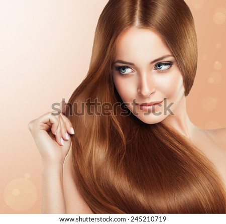 Beautiful girl with brown hair .Long straight hair Shine - stock photo