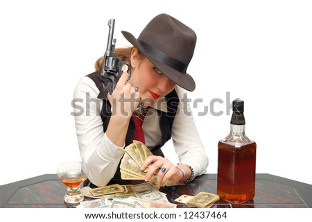 Beautiful girl with cards and gun isolated over a white background - stock photo
