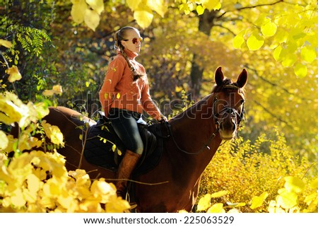 Beautiful girl with chestnut horse in autumn forest in sunshine - stock photo