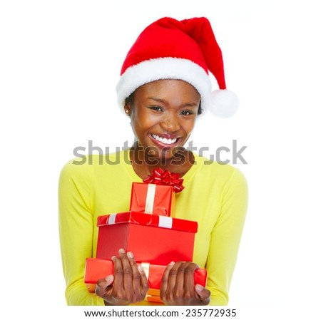 Beautiful girl with Christmas gifts isolated white background - stock photo