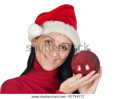 Beautiful girl with Christmas hat on a over white background