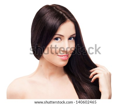 Beautiful girl with clean skin. Isolated on white background - stock photo