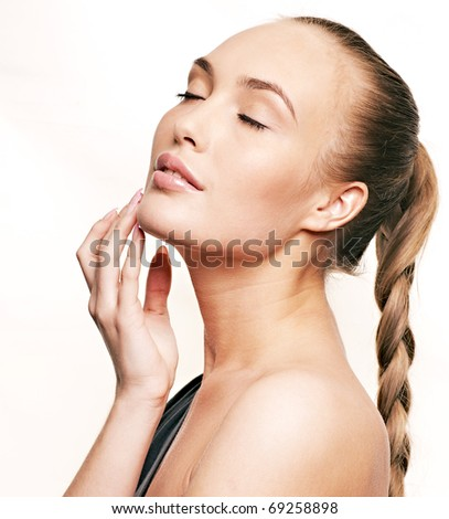 beautiful girl with closed eyes - stock photo