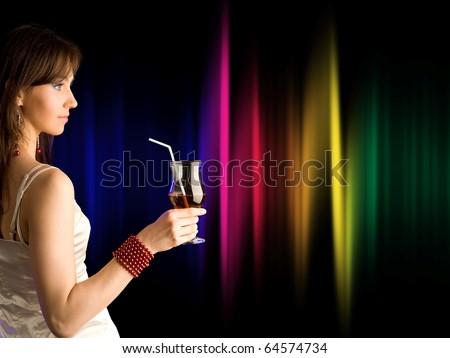 beautiful girl with  cocktail - stock photo