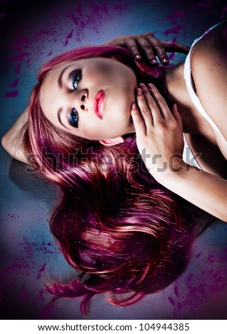 beautiful girl with colored hair - stock photo