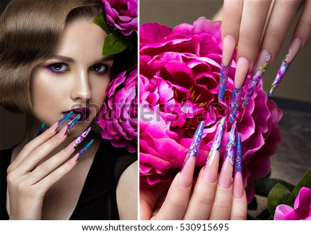 Beautiful girl with colorful make-up, flowers, retro hairstyle and long nails. Manicure design. The beauty of the face. Photos shot in studio. collage of photos