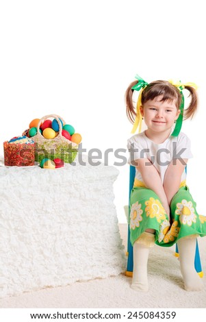 Beautiful girl with Easter eggs. Easter. Isolated on white background - stock photo