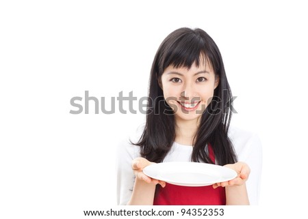 beautiful girl with empty plate, isolated on white background - stock photo