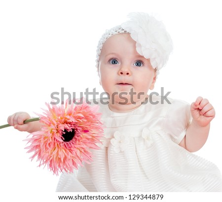 beautiful girl with flower gift, isolated on white - stock photo