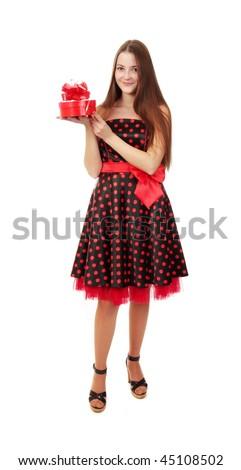 beautiful girl with gift - stock photo
