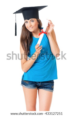 Beautiful girl with graduation hat holding diploma certificate, isolated on white background - stock photo