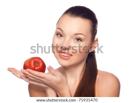Beautiful girl with green apple on a white background, healthy lifestyle.