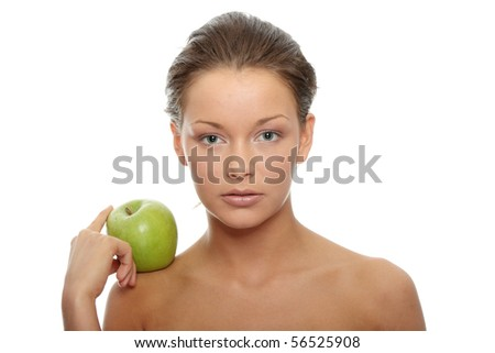 Beautiful Girl with green apple. Perfect skin concept ,isolated on white background - stock photo