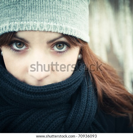 Beautiful girl with green eyes - stock photo