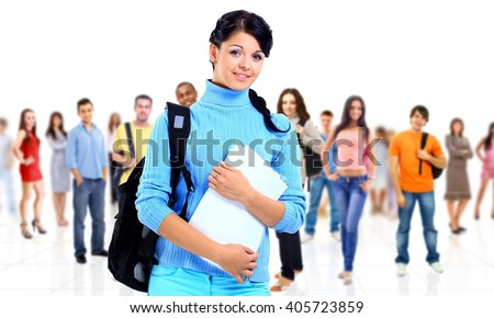 beautiful girl with group of happy students  - stock photo