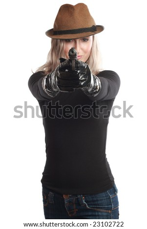 Beautiful girl with gun on a white background - stock photo