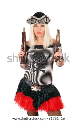 Beautiful girl with guns dressed as pirates - stock photo