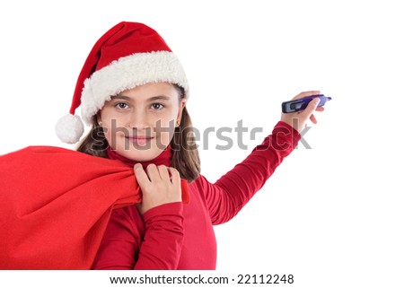 Beautiful girl with hat of christmas writing on a over white background