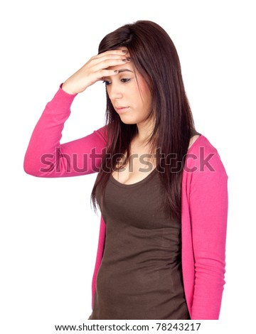 Beautiful girl with headache isolated on a over white background - stock photo
