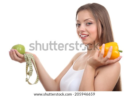 Beautiful girl with healthy food and measuring tape, isolated on white
