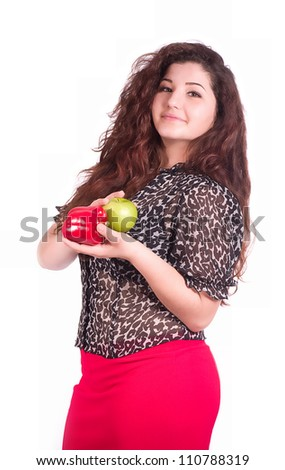 Beautiful girl with healthy food on the white background - stock photo
