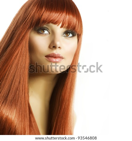 Beautiful Girl with Healthy Long Hair - stock photo