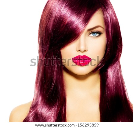 Beautiful Girl with Healthy Long Hair and Blue Eyes. Beauty Model Woman with Professional Makeup, Red lipstick. Hairstyle. Stylish Haircut. Fringe. Smooth Fashion Hair. Extensions. Hair Coloring  - stock photo