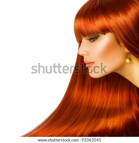 Beautiful Girl with Healthy Long Hair.  Isolated on white - stock photo