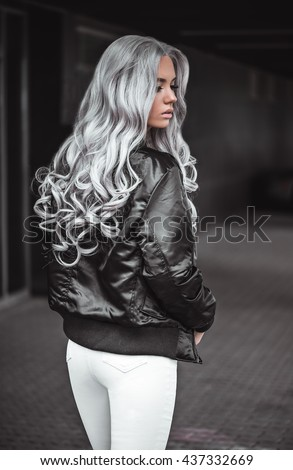 Beautiful girl with healthy long hair outdoor - stock photo