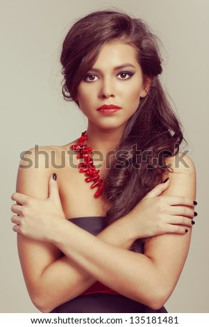 beautiful girl with healthy long hair. Wavy Hair. Hairstyle. - stock photo