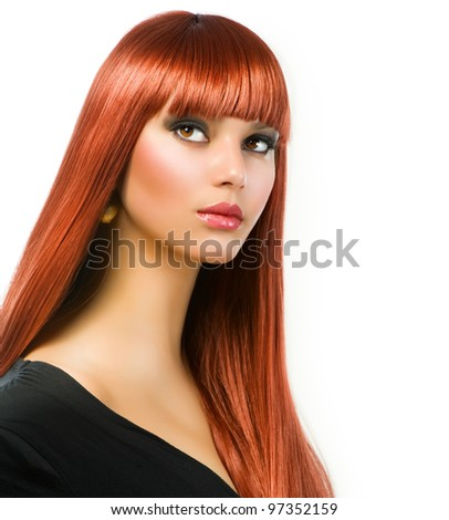 Beautiful Girl with Healthy Long Straight Hair - stock photo