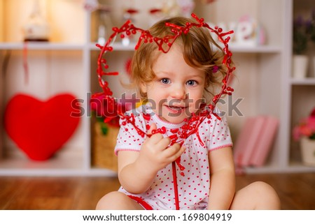 beautiful girl with heart. valentine's day concept - stock photo