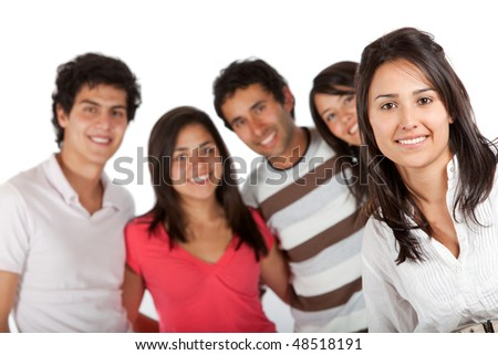 beautiful girl with her friends behind her isolated over a white background - stock photo