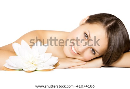 beautiful girl with lily - stock photo