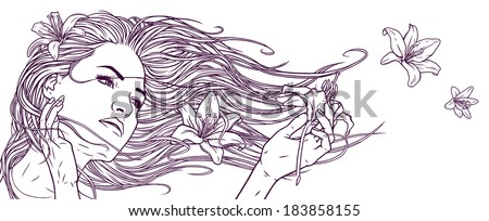 Graphic Girl Drawing Linear Graphic Drawing Stock