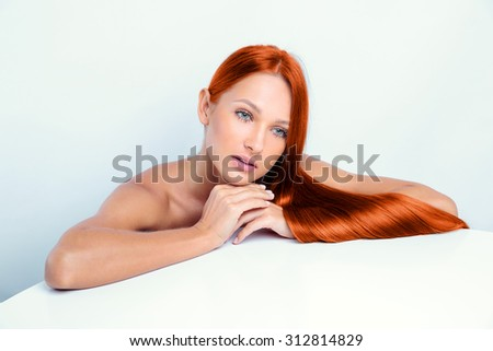 beautiful girl with long red hair - stock photo