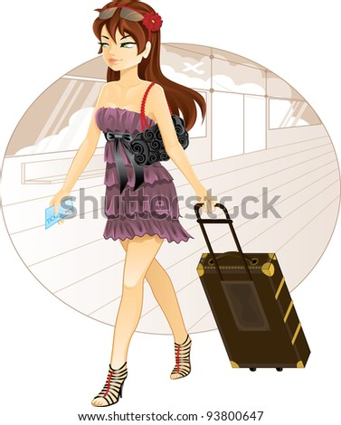 Beautiful girl with luggage traveling
