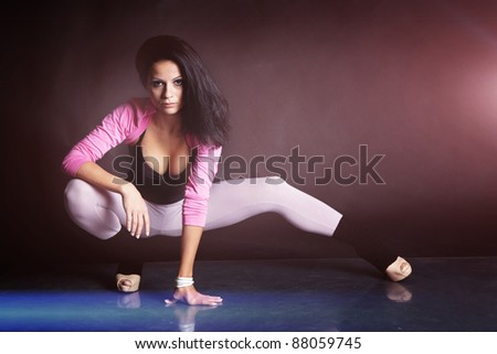 Beautiful girl with perfect body shooted in studio - stock photo