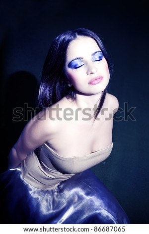 Beautiful girl with perfect make-up - stock photo