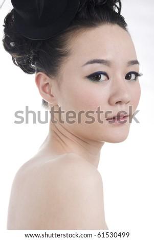 Beautiful girl with perfect makeup,contemplating - stock photo