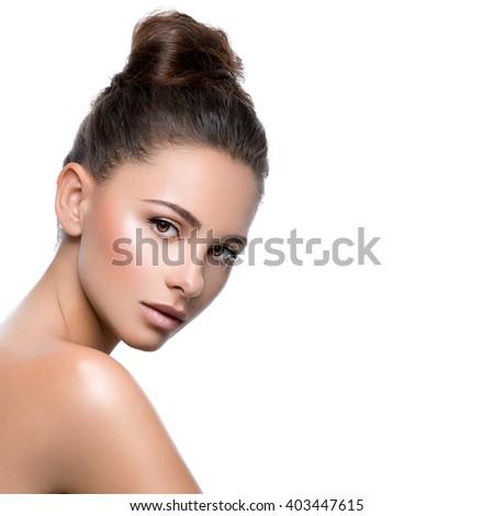 Beautiful girl with perfect skin - stock photo