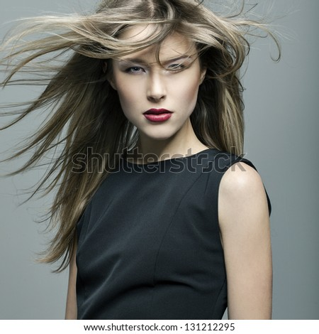 beautiful girl with perfect skin and developing hair - stock photo
