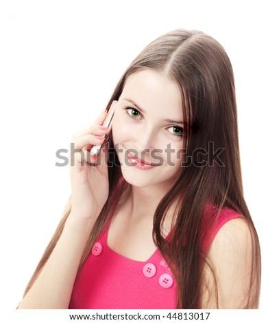beautiful girl with phone - stock photo